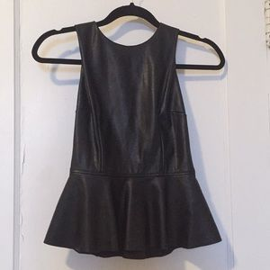 Black pleather peplum top.